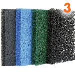 Filter media (sponges of different density)